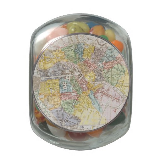 Vintage Map of Berlin (1846) Jelly Belly Candy Jar
