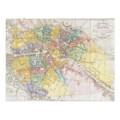 Vintage Map Of Berlin Postcard Zazzlecom - Vintage map berlin