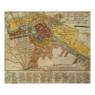 Vintage Map of Berlin Germany (1789) Poster