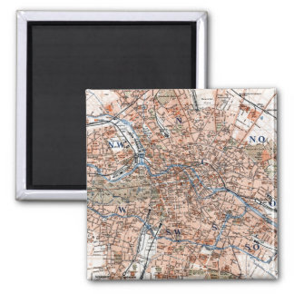 Vintage Map of Berlin Germany (1894) 2 Inch Square Magnet