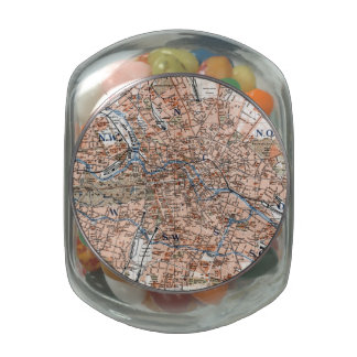 Vintage Map of Berlin Germany (1894) Jelly Belly Candy Jars