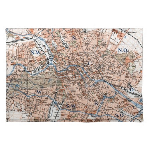 Vintage Map of Berlin Germany (1894) Placemats