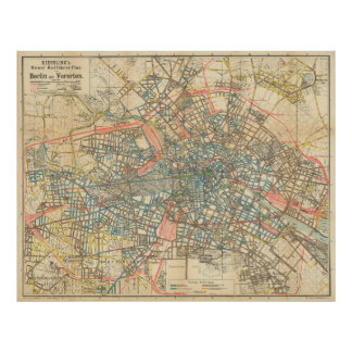 Vintage Map of Berlin Germany (1904) Poster