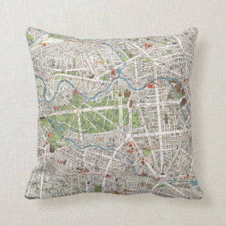 Vintage Map of Berlin Germany (1905) Throw Pillows