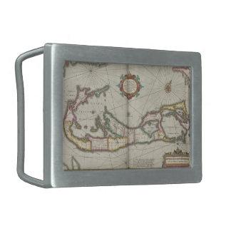 Vintage Map of Bermuda (1638) Rectangular Belt Buckles