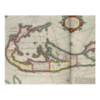 Vintage Map of Bermuda (1638) Post Card