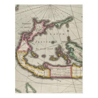 Vintage Map of Bermuda (1638) Postcard