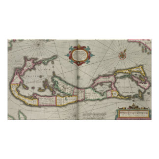 Vintage Map of Bermuda (1638) Poster