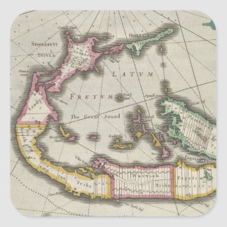 Vintage Map of Bermuda (1638) Sticker