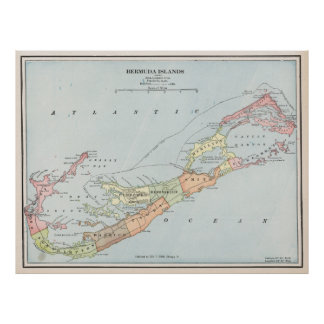 Vintage Map of Bermuda (1901) Poster