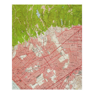 Vintage Map of Beverly Hills California (1950) Poster