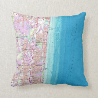 Vintage Map of Boca Raton Florida (1962) Throw Pillow