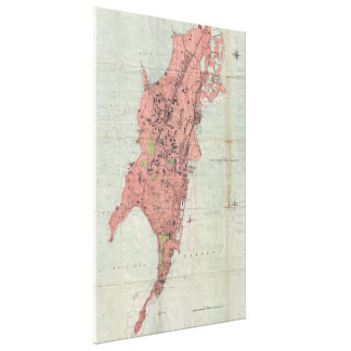 Vintage Map of Bombay India (1895) Canvas Print
