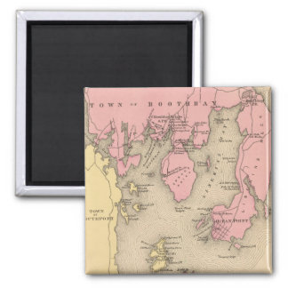 Vintage Map of Boothbay Maine (1894) 2 Inch Square Magnet