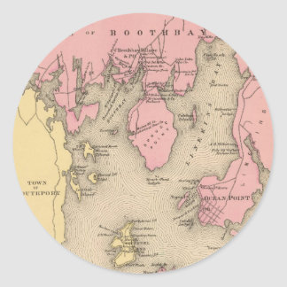 Vintage Map of Boothbay Maine (1894) Classic Round Sticker