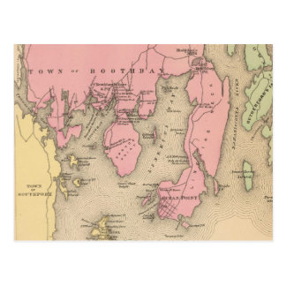 Vintage Map of Boothbay Maine (1894) Postcard