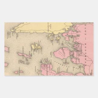 Vintage Map of Boothbay Maine (1894) Rectangular Sticker