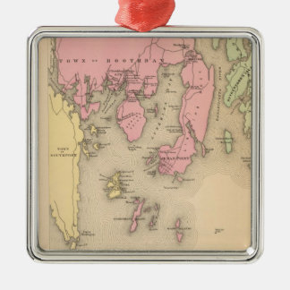 Vintage Map of Boothbay Maine (1894) Square Metal Christmas Ornament