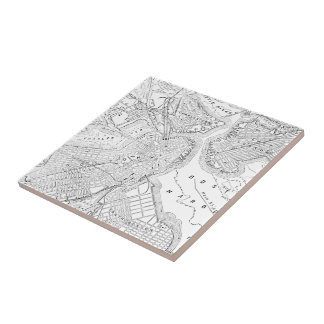 Vintage Map of Boston (1878) Ceramic Tile