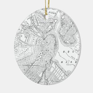 Vintage Map of Boston (1878) Christmas Ornaments