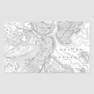Vintage Map of Boston (1878) Rectangular Sticker