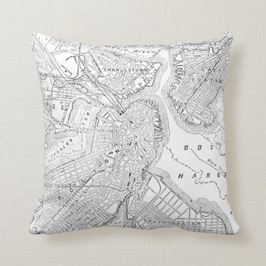 Vintage Map of Boston (1878) Throw Pillow