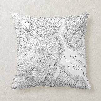 Vintage Map of Boston (1878) Throw Pillow