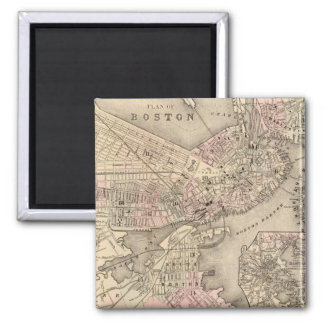 Vintage Map of Boston (1880) 2 Inch Square Magnet