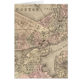 Vintage Map of Boston (1880) Card