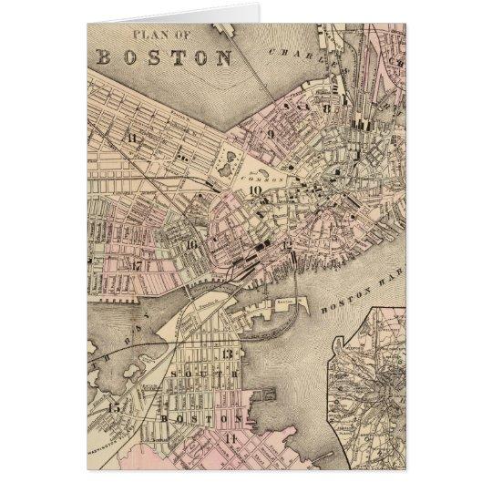Vintage Map of Boston (1880) Card
