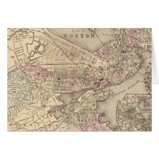 Vintage Map of Boston (1880) Greeting Card