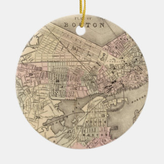 Vintage Map of Boston (1880) Ceramic Ornament