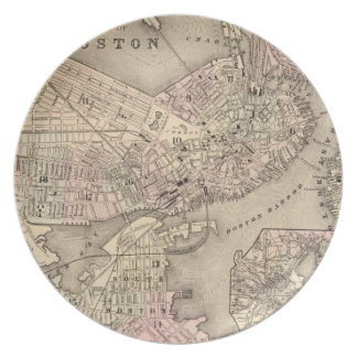 Vintage Map of Boston (1880) Melamine Plate