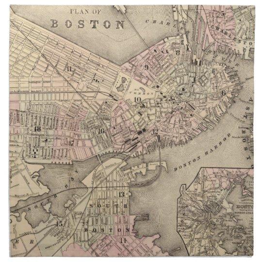 Vintage Map of Boston (1880) Napkin
