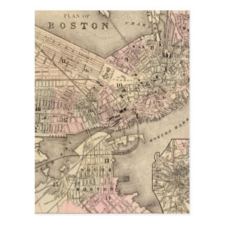 Vintage Map of Boston (1880) Postcard