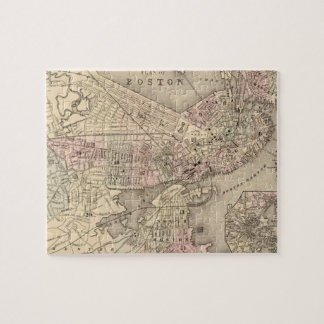 Vintage Map of Boston 1880 Jigsaw Puzzle