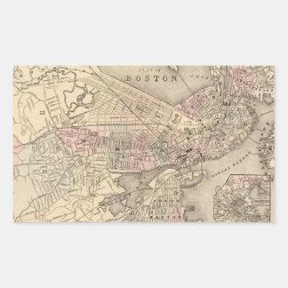 Vintage Map of Boston (1880) Rectangular Sticker