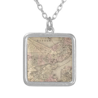 Vintage Map of Boston (1880) Silver Plated Necklace