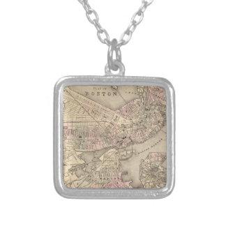 Vintage Map of Boston (1880) Square Pendant Necklace