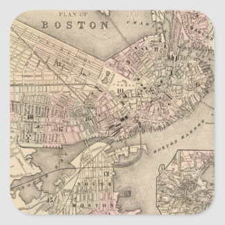 Vintage Map of Boston (1880) Square Sticker