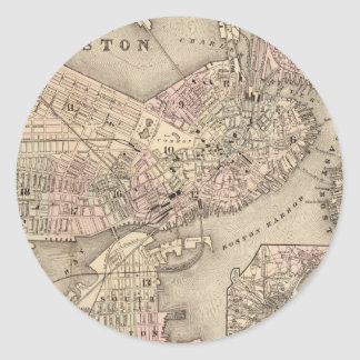 Vintage Map of Boston (1880) Round Stickers