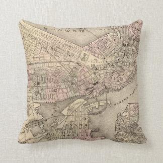 Vintage Map of Boston (1880) Throw Pillow