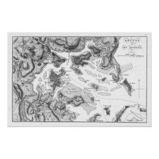 Vintage Map of Boston Harbor (1807) BW Poster