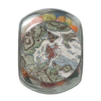 Vintage Map of Boston Harbor (1807) Glass Candy Jars