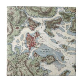Vintage Map of Boston Harbor (1807) Ceramic Tile