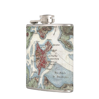 Vintage Map of Boston Harbor (1807) Hip Flask