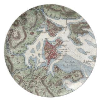 Vintage Map of Boston Harbor (1807) Melamine Plate