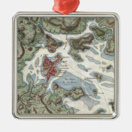 Vintage Map of Boston Harbor (1807) Metal Ornament