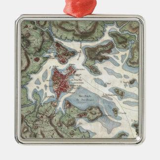 Vintage Map of Boston Harbor (1807) Metal Ornament