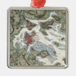 Vintage Map of Boston Harbor (1807) Square Metal Christmas Ornament